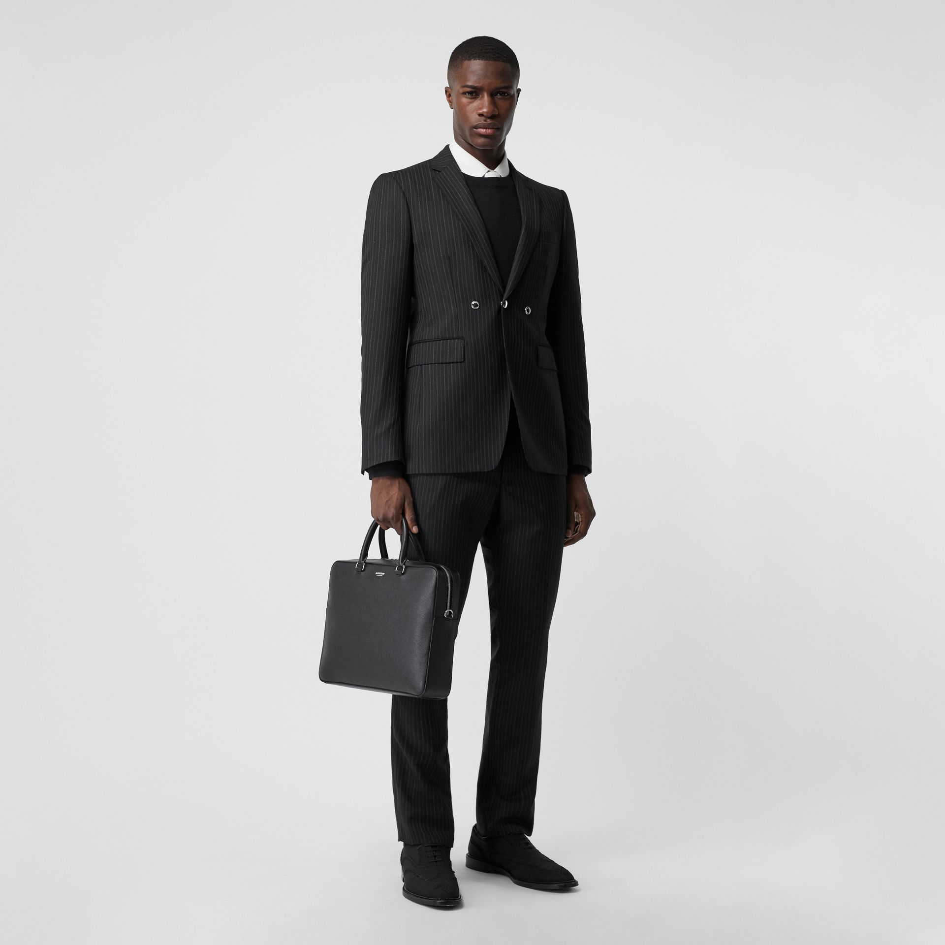 Grainy Leather Briefcase in Black - Men | Burberry United Kingdom - gallery image 5