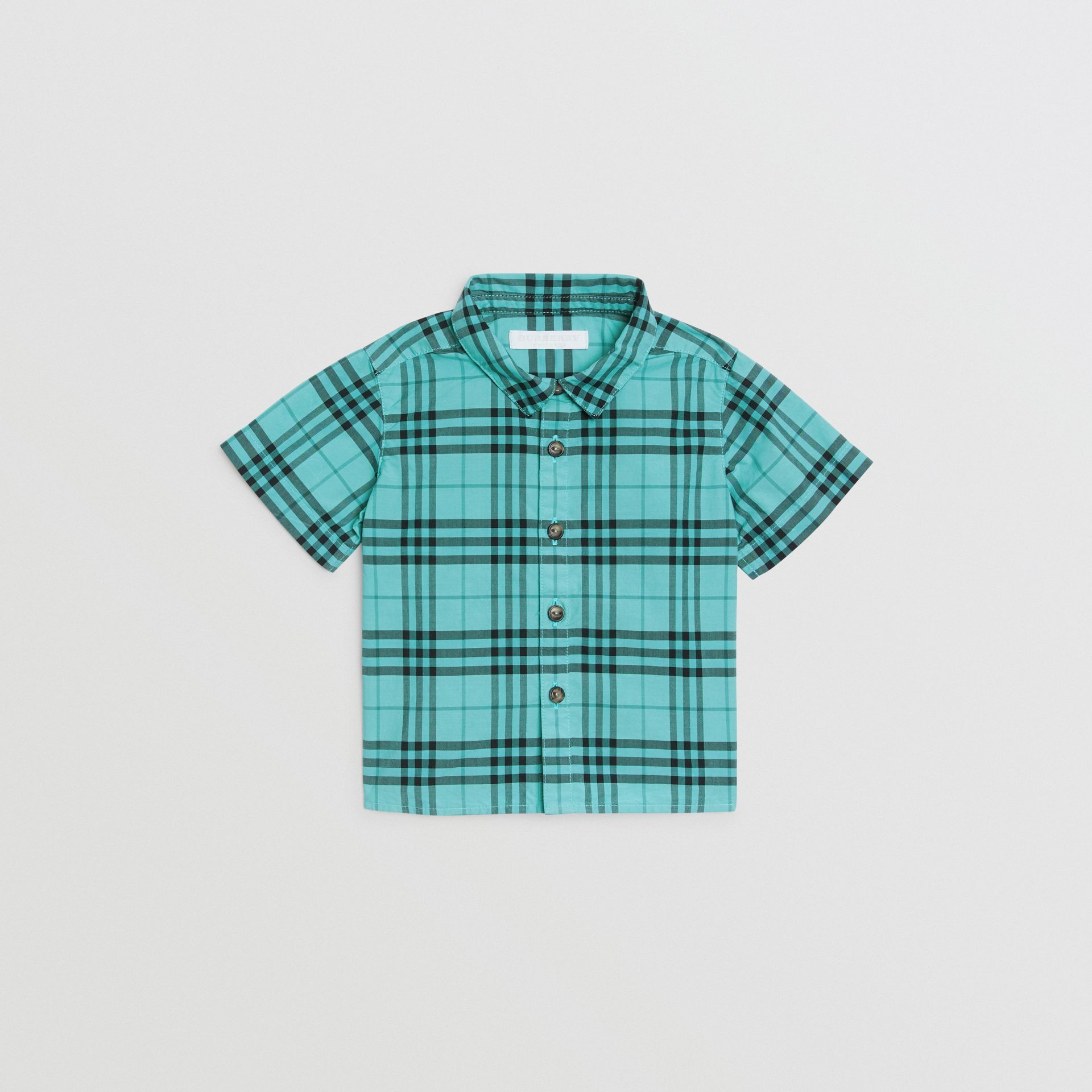 Short-sleeve Check Cotton Shirt in Light Mint - Children | Burberry United Kingdom - gallery image 0