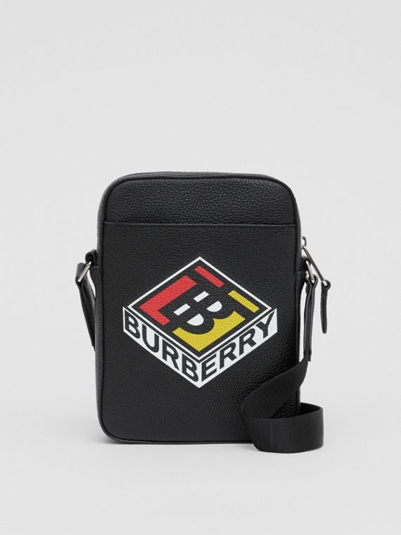 Logo Graphic Leather Crossbody Bag in Black