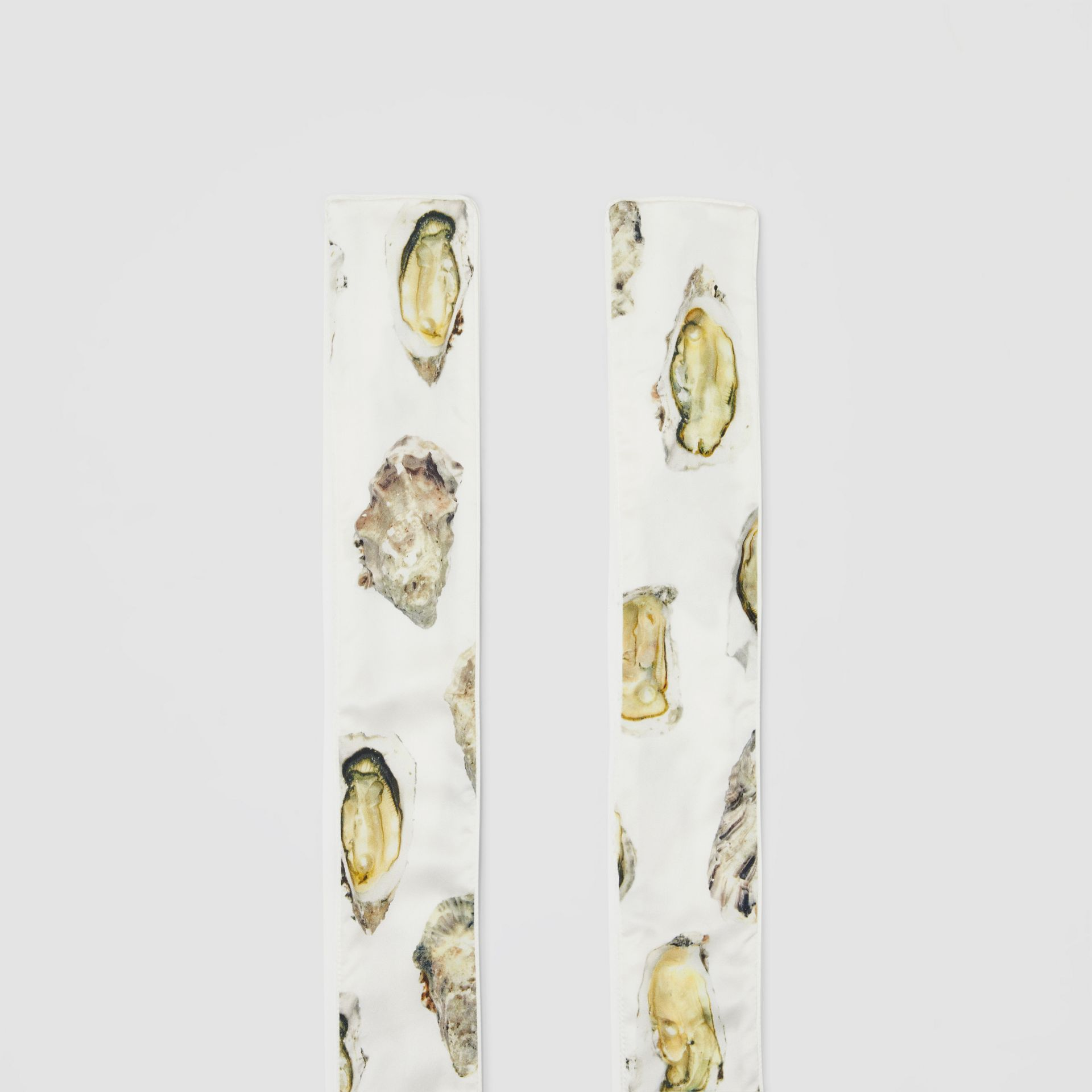 Oyster Print Silk Satin Skinny Scarf in Natural White | Burberry - gallery image 3