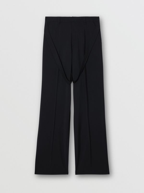 Strap Detail Wool Mohair Tailored Trousers in Black | Burberry Singapore - cell image 3