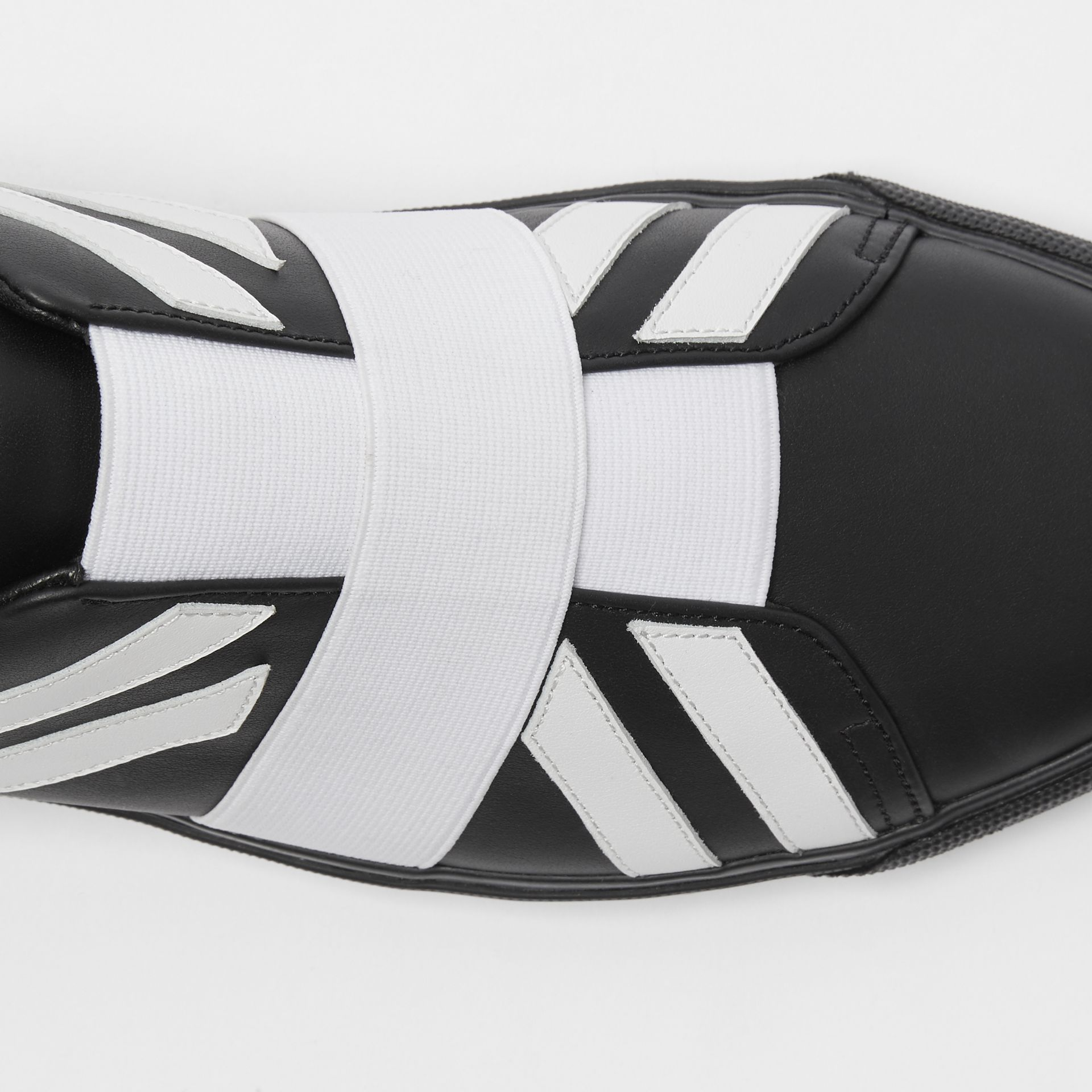 Union Jack Motif Slip-on Sneakers in Black/optic White - Women | Burberry Australia - gallery image 1