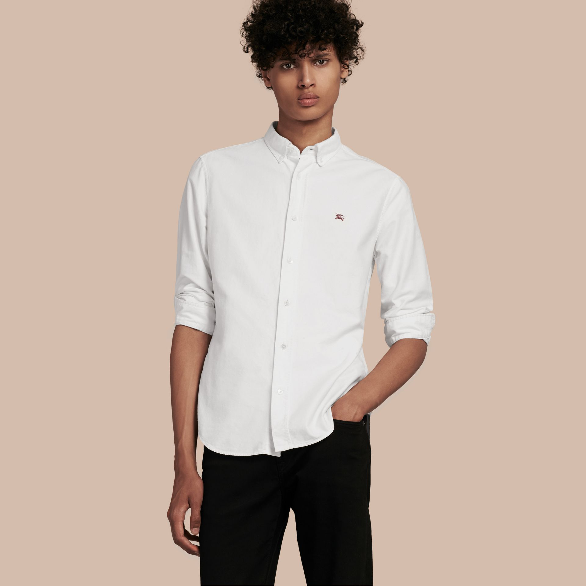 Cotton Oxford Shirt in White - Men | Burberry Hong Kong - gallery image 1