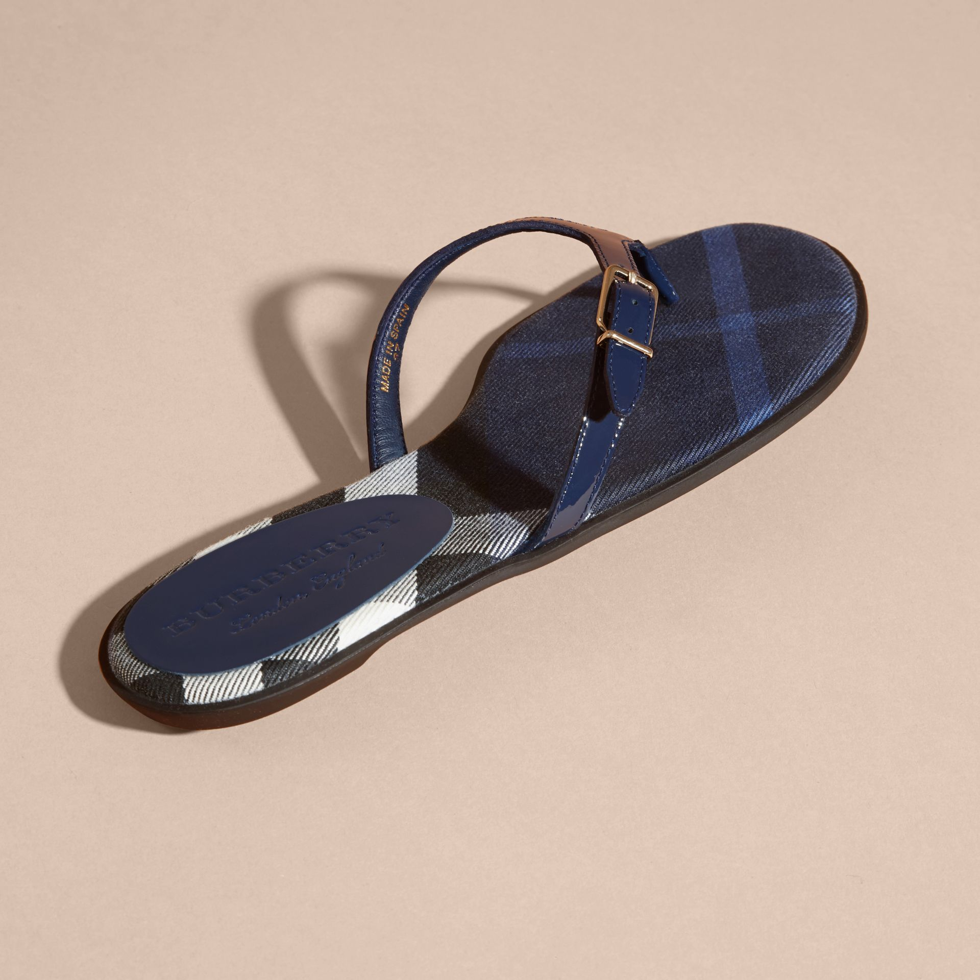 House Check and Patent Leather Sandals in Indigo Blue - Women | Burberry Singapore - gallery image 4