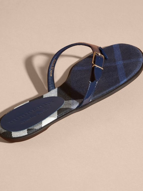 House Check and Patent Leather Sandals in Indigo Blue - Women | Burberry - cell image 3