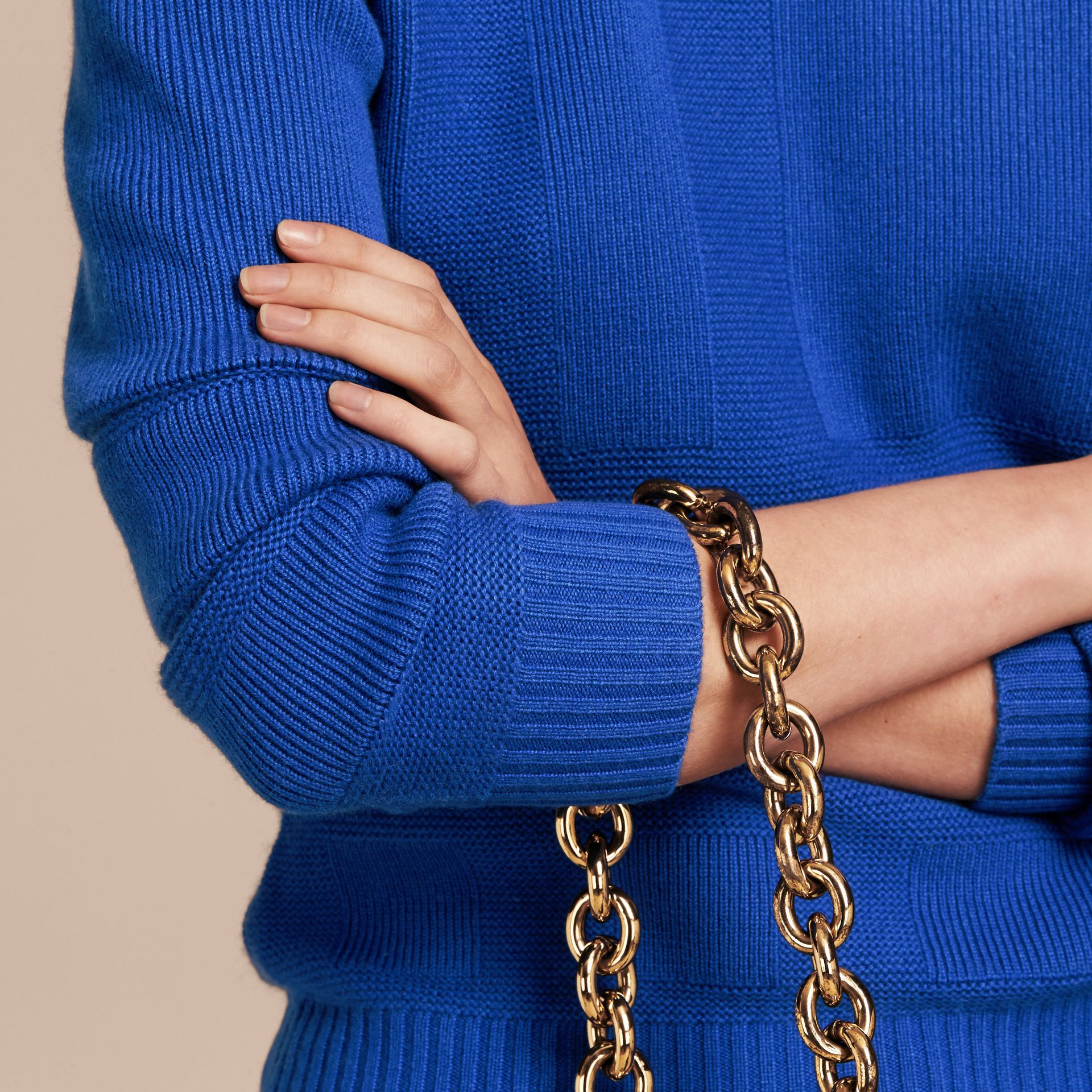Check-knit Wool Cashmere Sweater in Sapphire Blue - gallery image 5