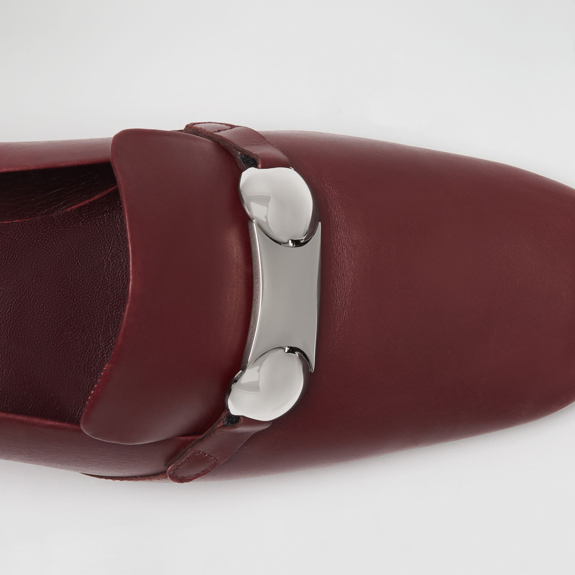 Studded Bar Detail Leather Pumps in Bordeaux - Women | Burberry - gallery image 1