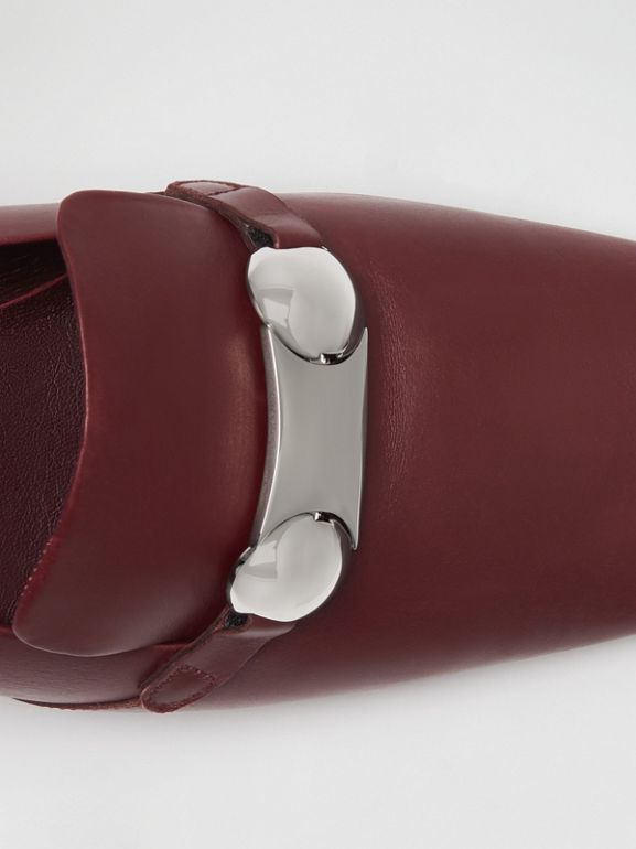 Studded Bar Detail Leather Pumps in Bordeaux - Women | Burberry - cell image 1