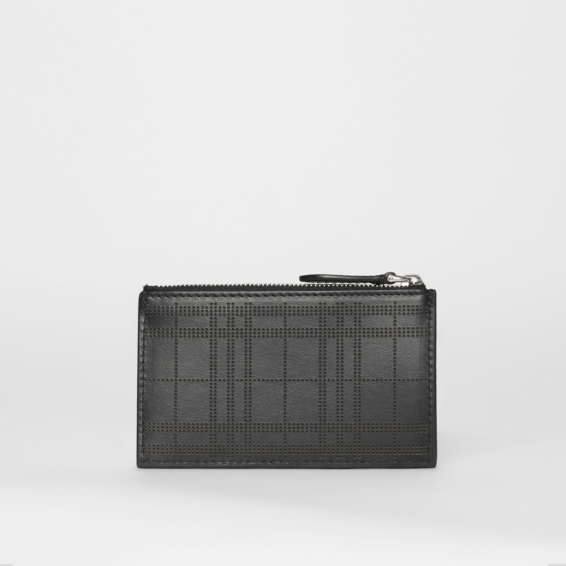 Perforated Check Leather Zip Card Case in Black - Men | Burberry - gallery image 2