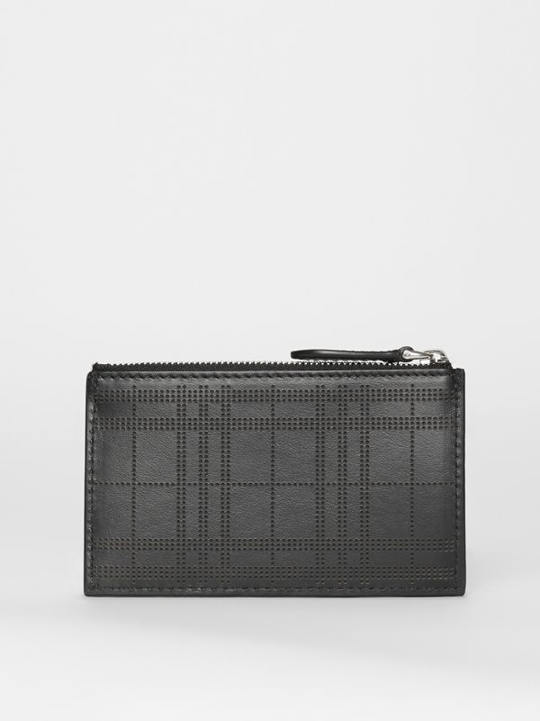 Perforated Check Leather Zip Card Case in Black - Men | Burberry - cell image 2