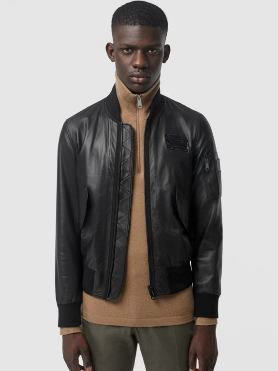 EKD Logo Lambskin Bomber Jacket in Black