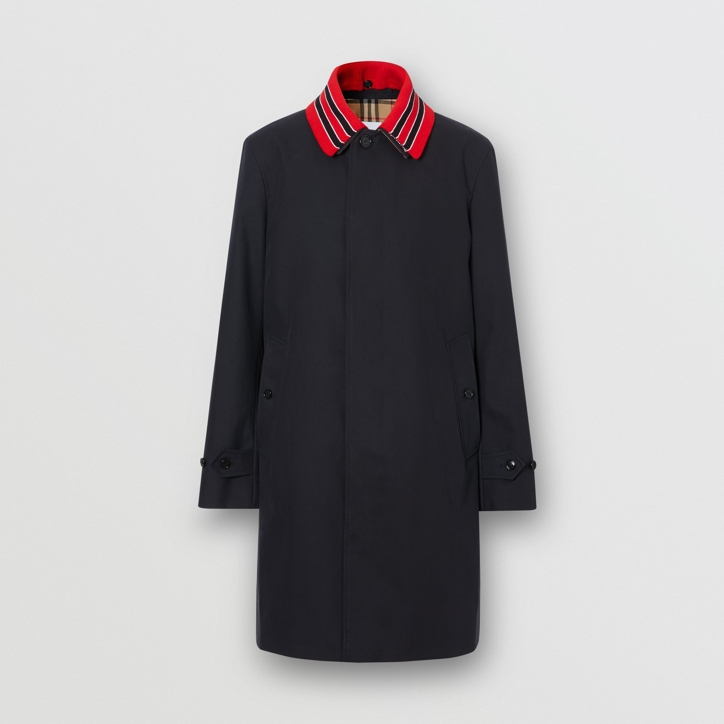 Detachable Striped Collar Cotton Car Coat in Navy - Men | Burberry - 4