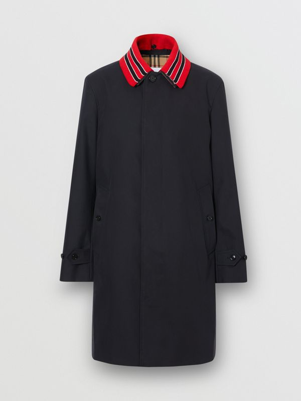 Detachable Striped Collar Cotton Car Coat in Navy - Men | Burberry - cell image 3