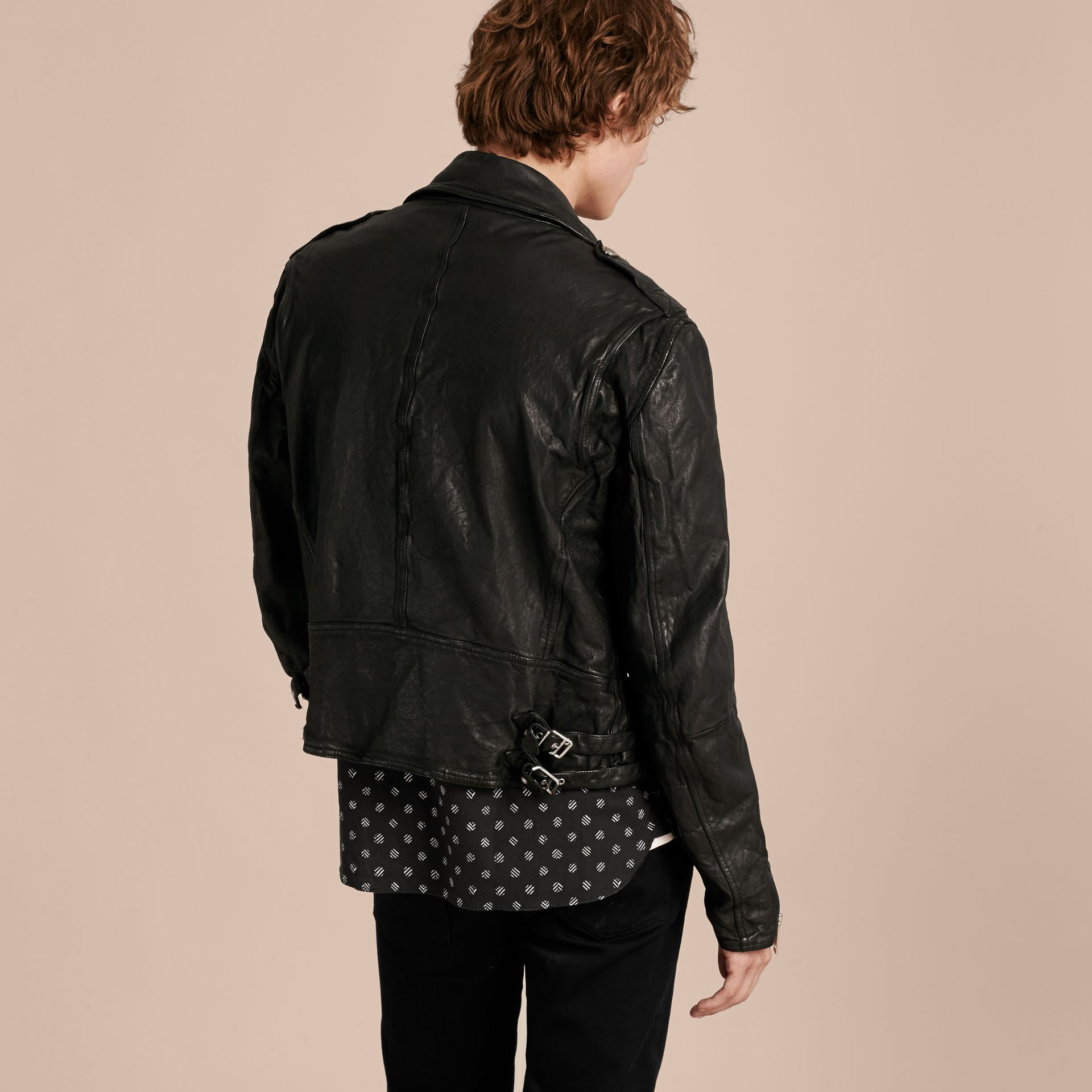 Black Washed Lambskin Biker Jacket - gallery image 3