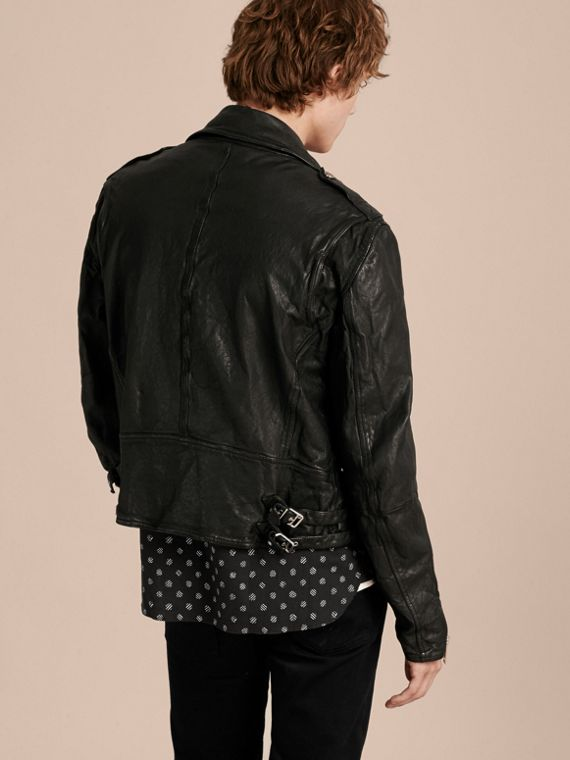 Black Washed Lambskin Biker Jacket - cell image 2
