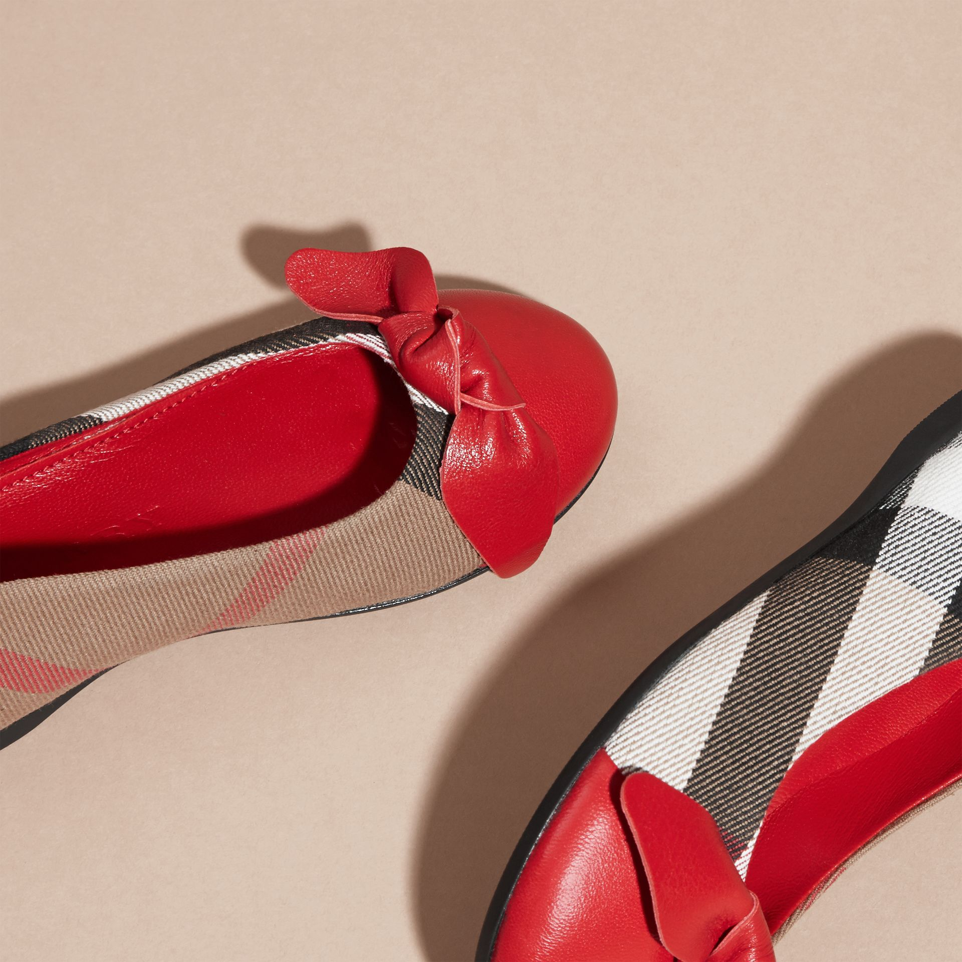 Leather and House Check Ballerinas in Parade Red - Girl | Burberry - gallery image 2