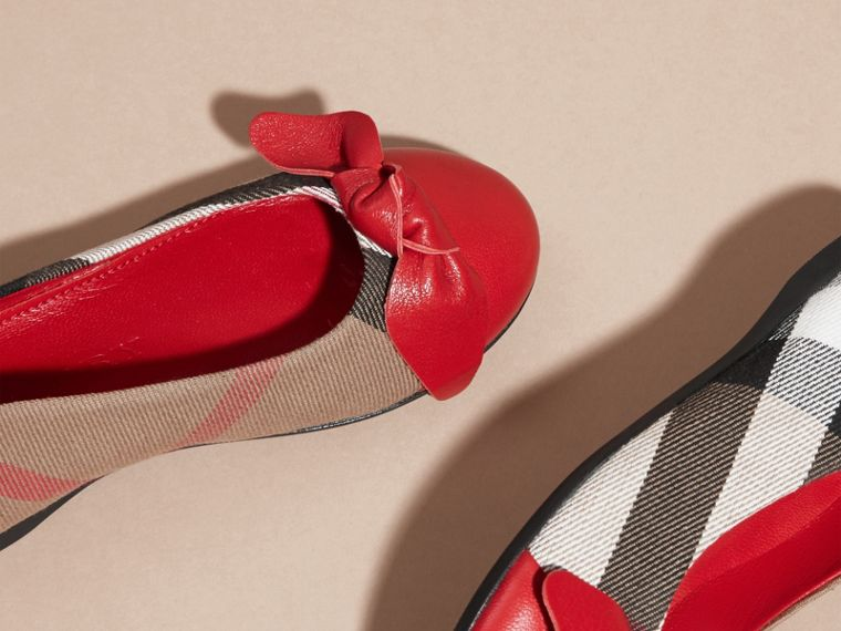 Leather and House Check Ballerinas in Parade Red - Girl | Burberry - cell image 1