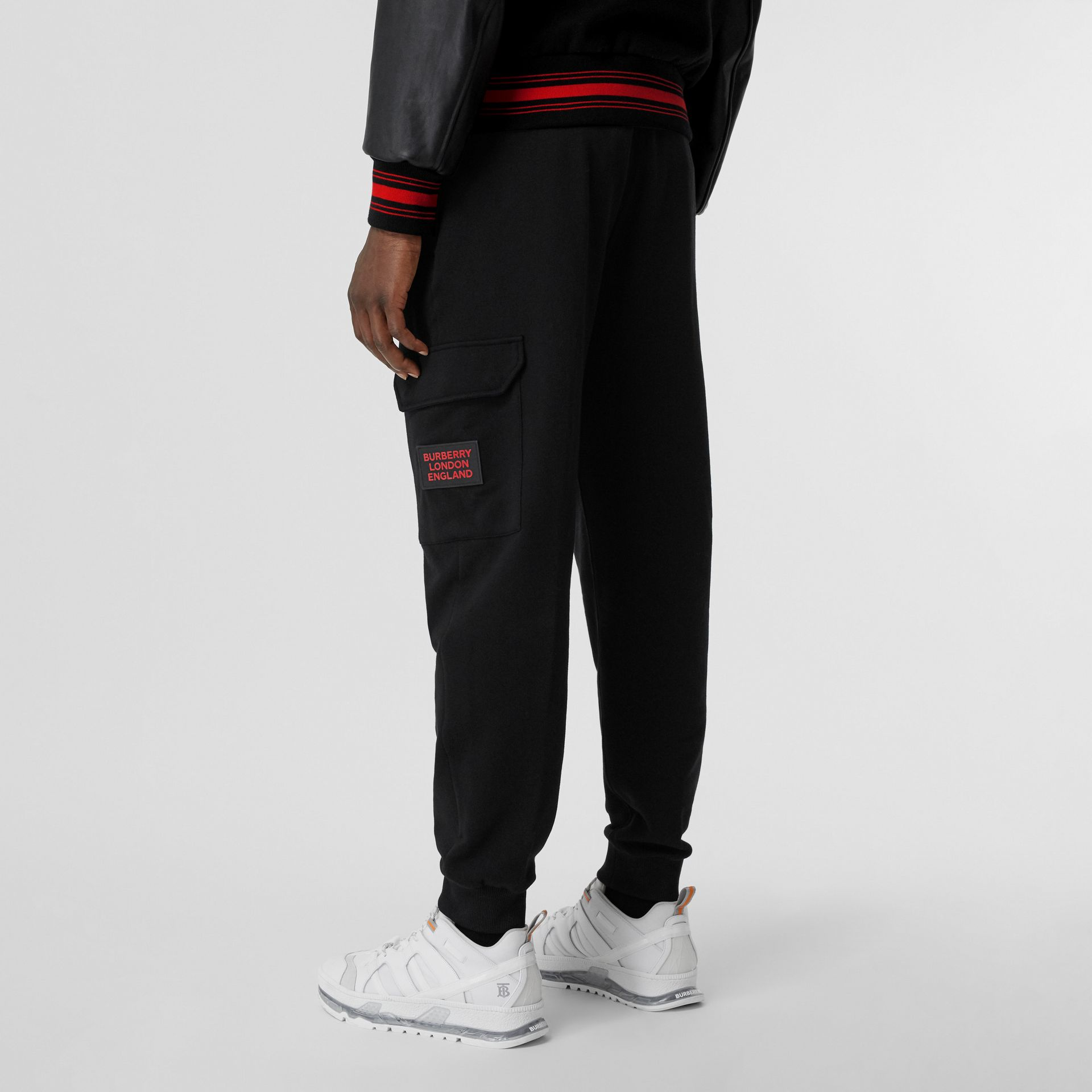 Logo Appliqué Cotton Trackpants in Black - Men   Burberry United States - gallery image 2