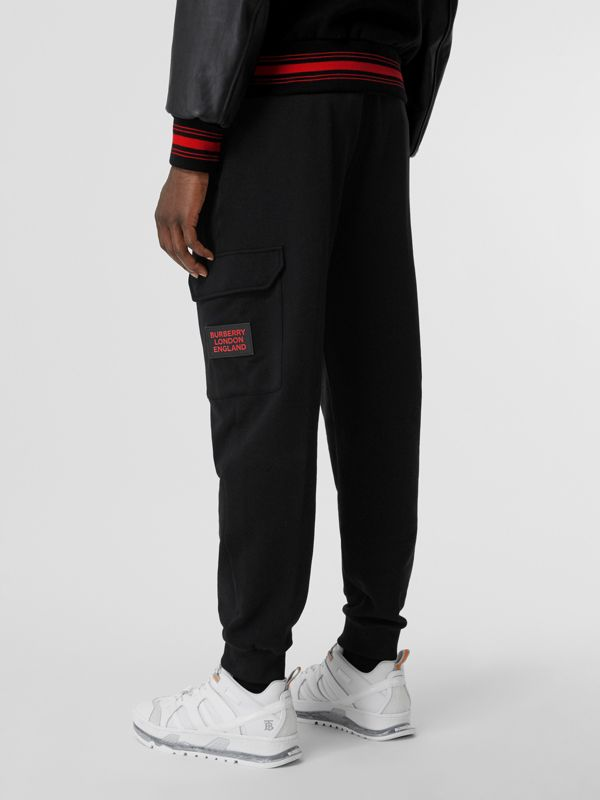 Logo Appliqué Cotton Trackpants in Black - Men   Burberry United States - cell image 2