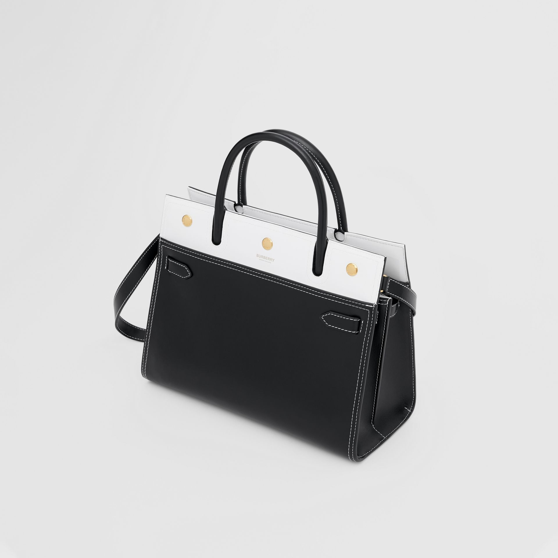 Small Leather Two-handle Title Bag in Black/white - Women | Burberry - gallery image 3