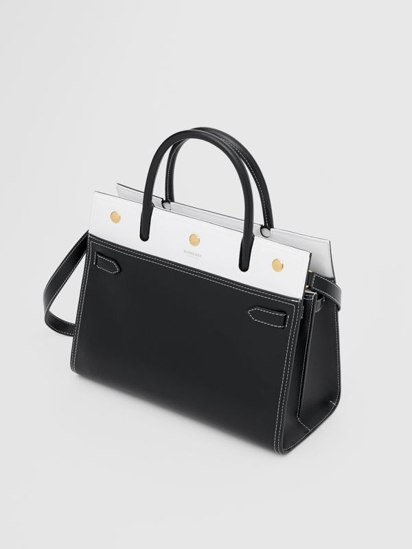 Small Leather Two-handle Title Bag in Black/white - Women | Burberry - cell image 3