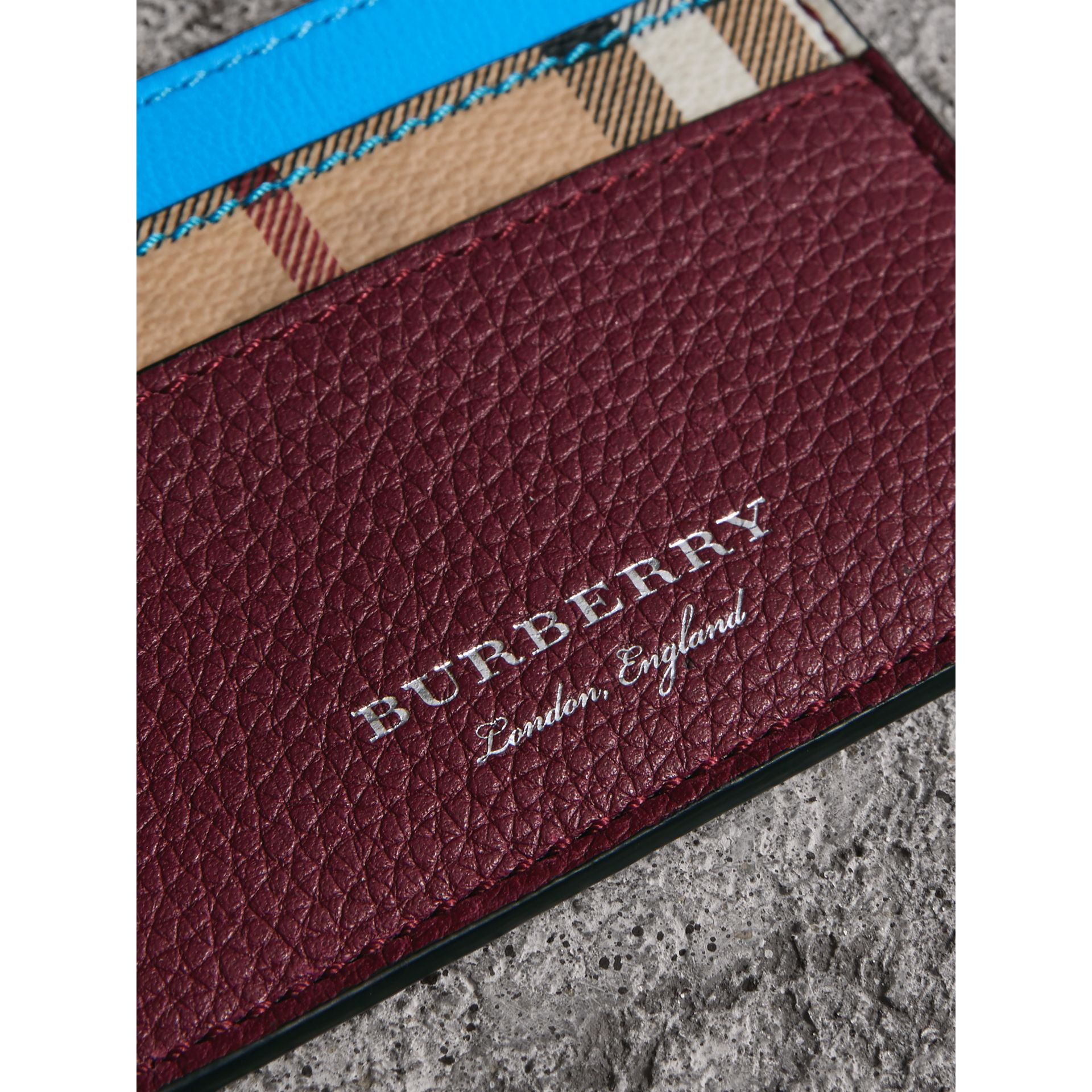 Haymarket Check and Two-tone Leather Card Case in Bright Blue | Burberry - gallery image 1