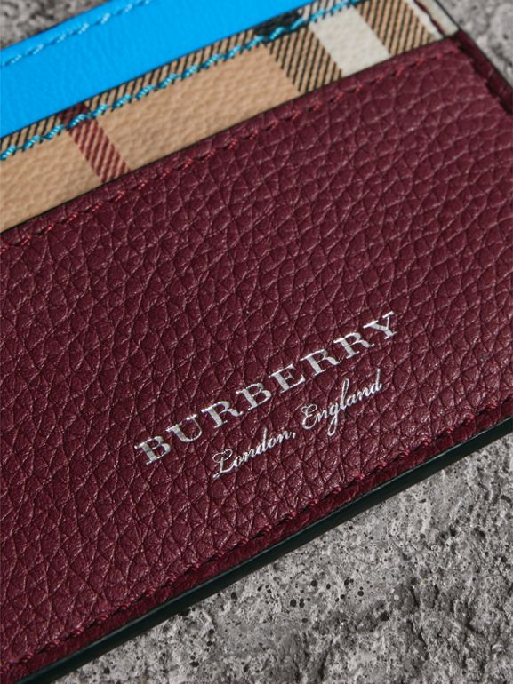Haymarket Check and Two-tone Leather Card Case in Bright Blue | Burberry - cell image 1