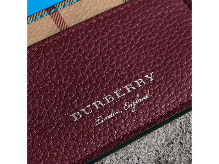 Haymarket Check and Two-tone Leather Card Case in Bright Blue - Men | Burberry - cell image 1