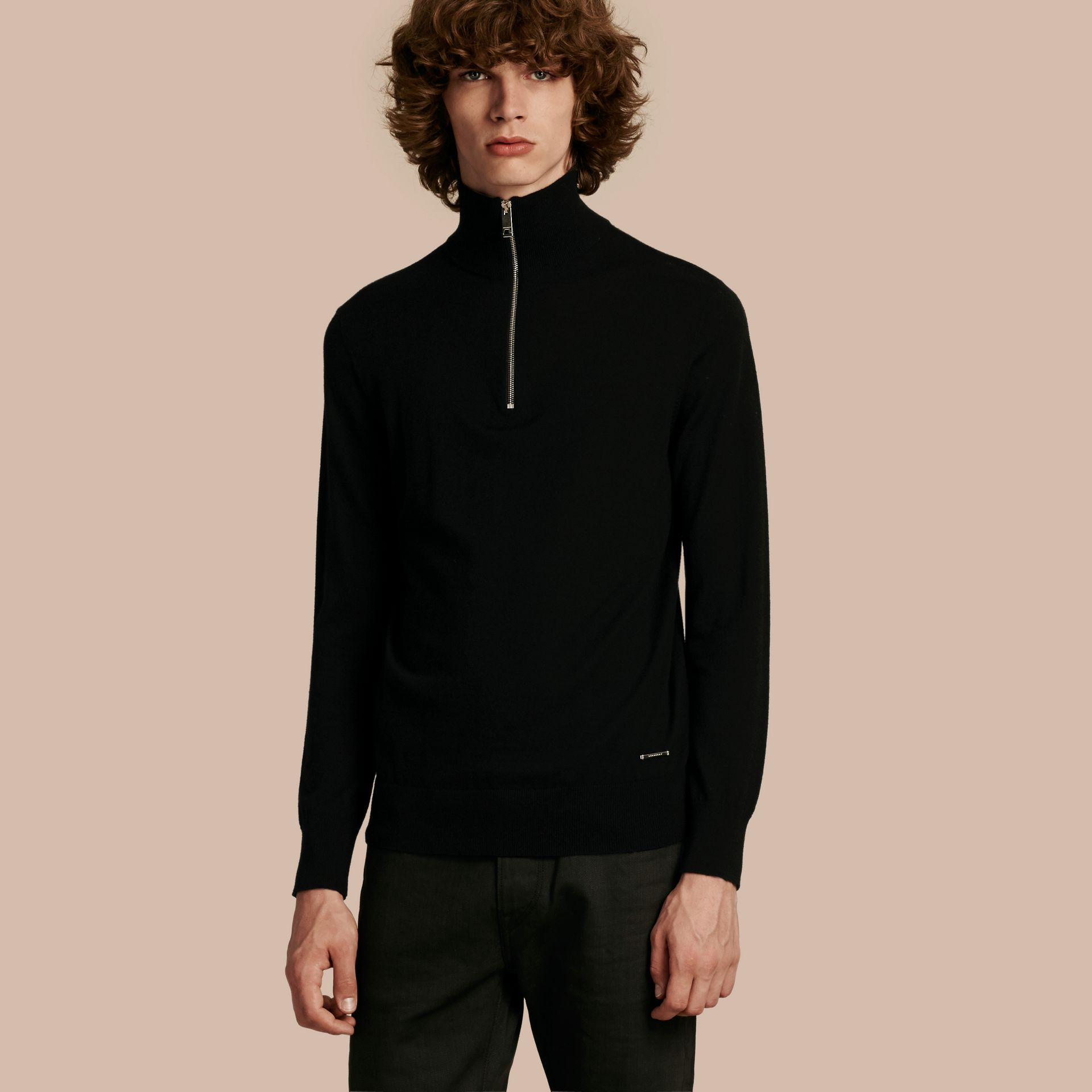 Zip-collar Cashmere Sweater Black - gallery image 1
