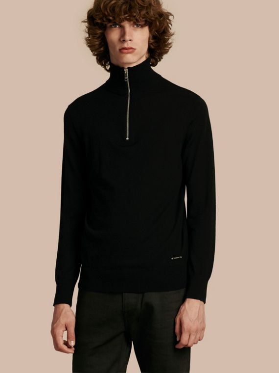 Zip-collar Cashmere Sweater in Black