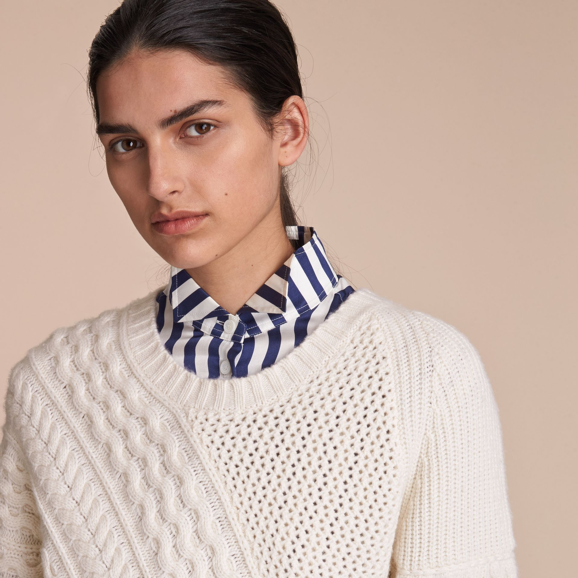 Cable and Rib Knit Panel Wool Cashmere Sweater in Natural White - Women | Burberry - gallery image 6