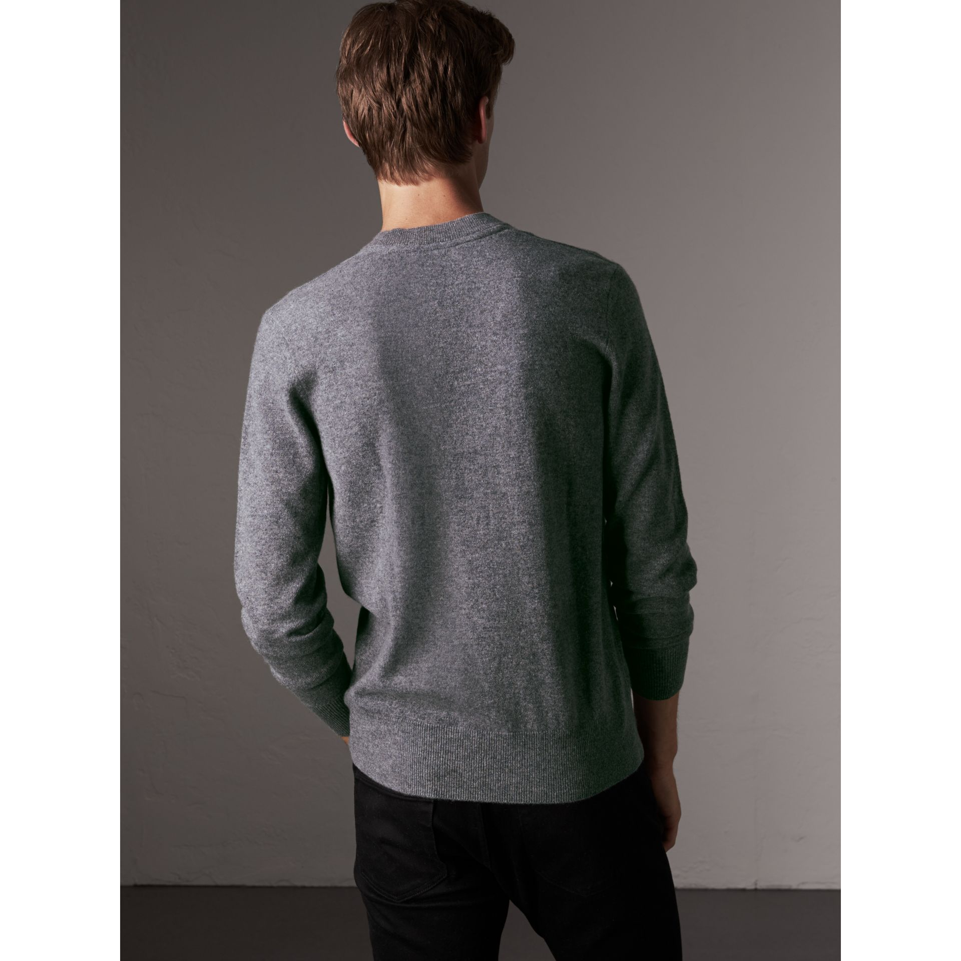Cashmere V-neck Sweater in Mid Grey Melange - Men | Burberry Singapore - gallery image 2