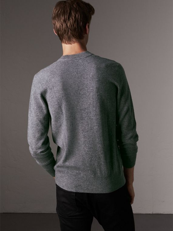 Cashmere V-neck Sweater in Mid Grey Melange - Men | Burberry Singapore - cell image 2