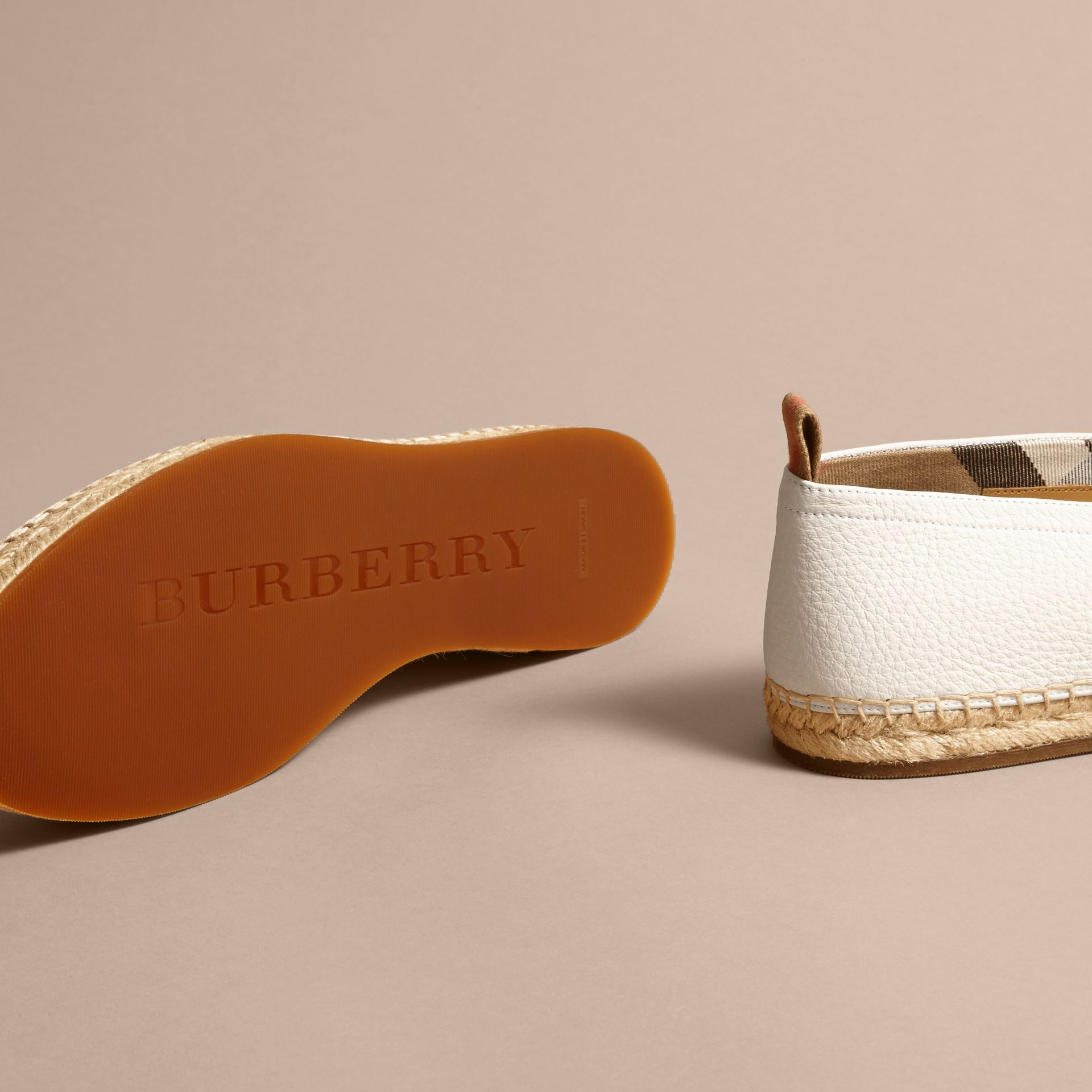 Check Detail Leather Espadrilles in Optic White - gallery image 5