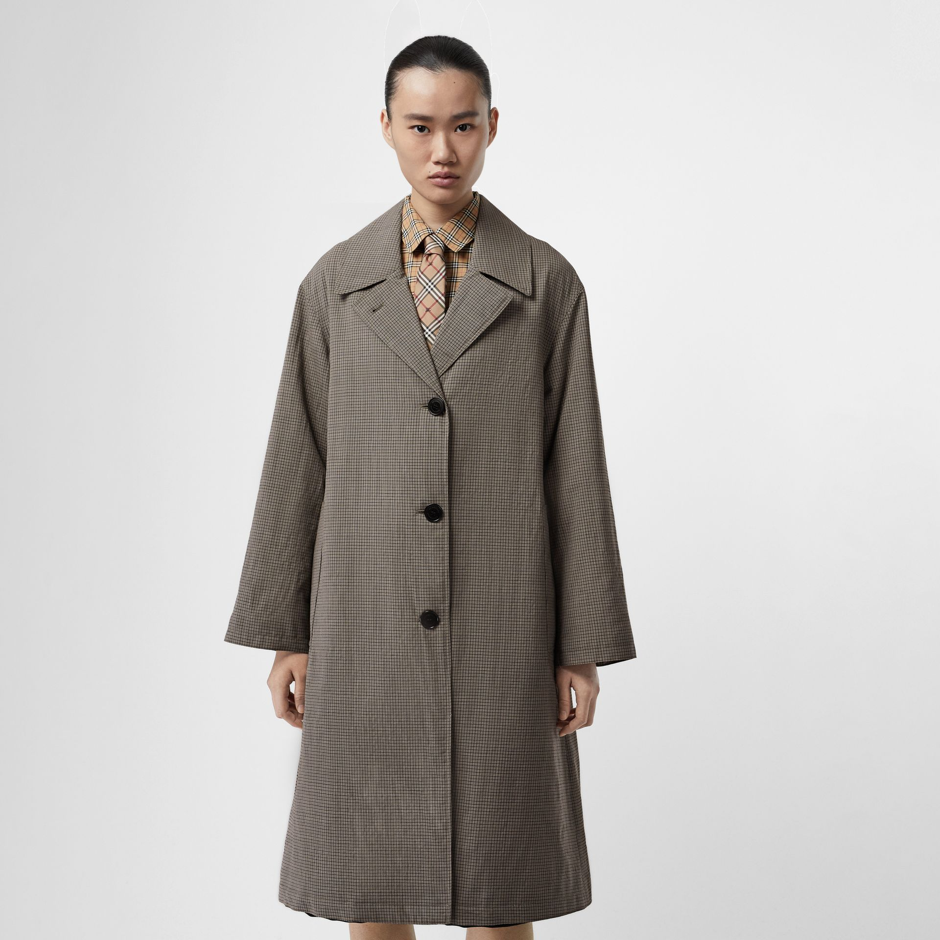 Check Wool Oversized Coat in Taupe - Women | Burberry - gallery image 4