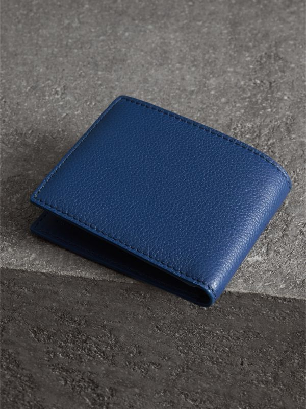 Grainy Leather Bifold Wallet in Bright Ultramarine - Men | Burberry United States - cell image 2