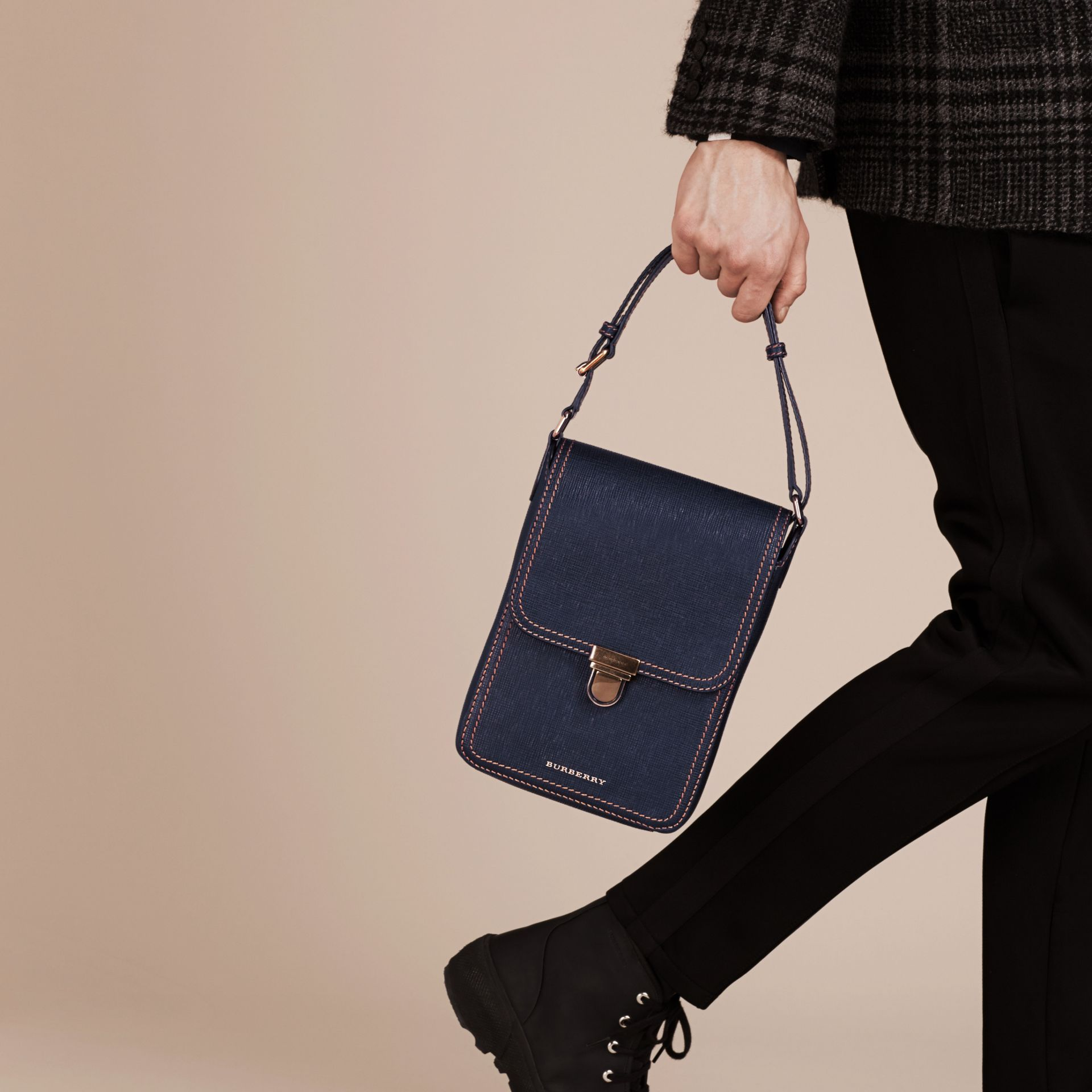 Dark navy The Small Satchel in Textured Leather - gallery image 3