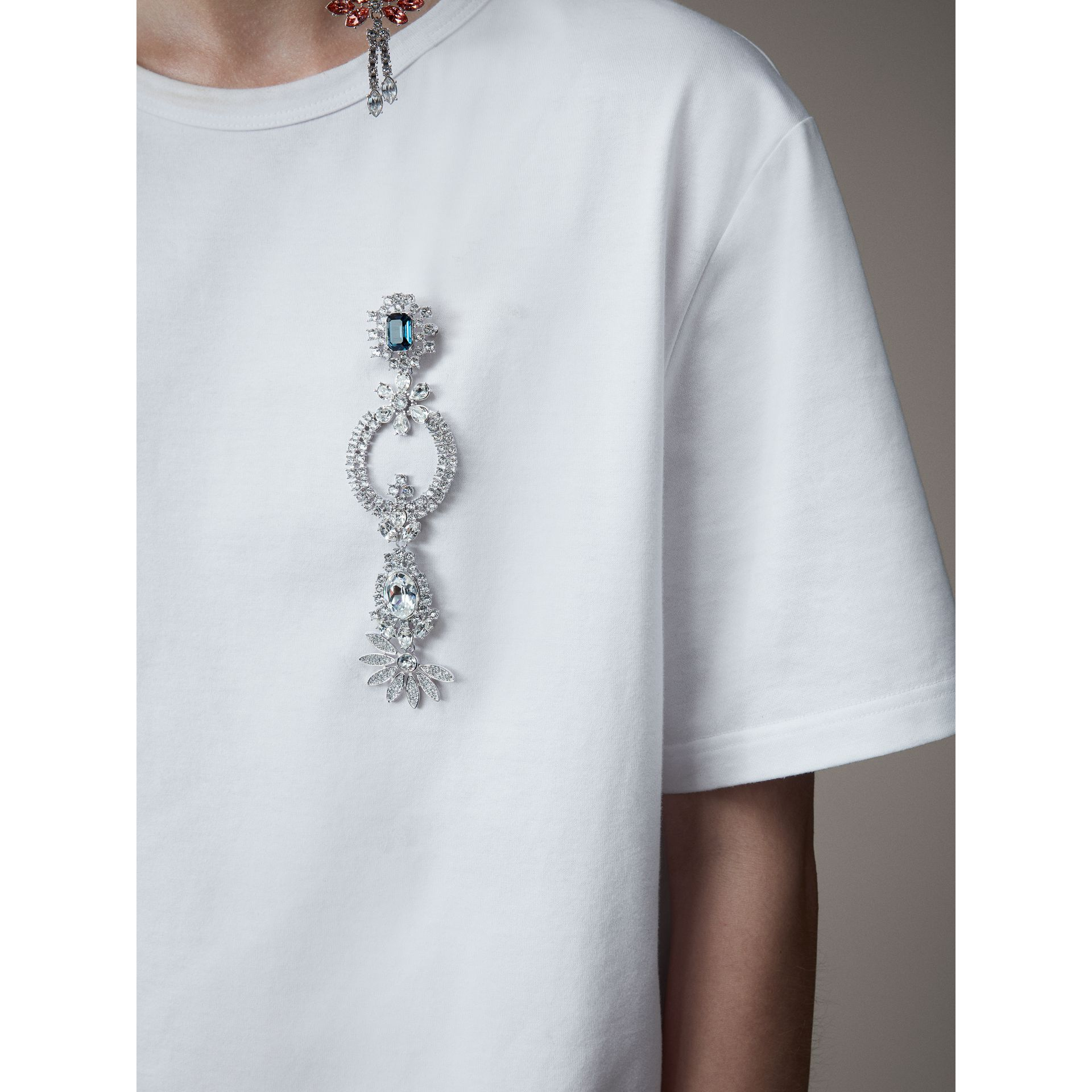 Boyfriend Fit T-shirt with Crystal Brooch in Optic White - Women | Burberry - gallery image 2