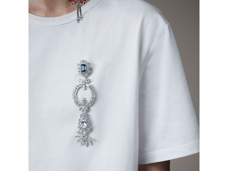 Boyfriend Fit T-shirt with Crystal Brooch in Optic White - Women | Burberry - cell image 1