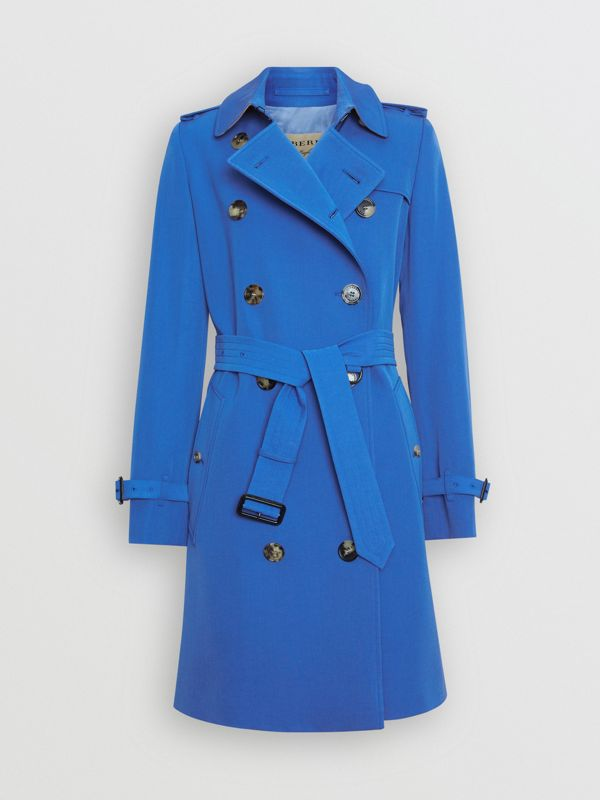 Wool Gabardine Trench Coat in Sky Blue - Women | Burberry - cell image 3