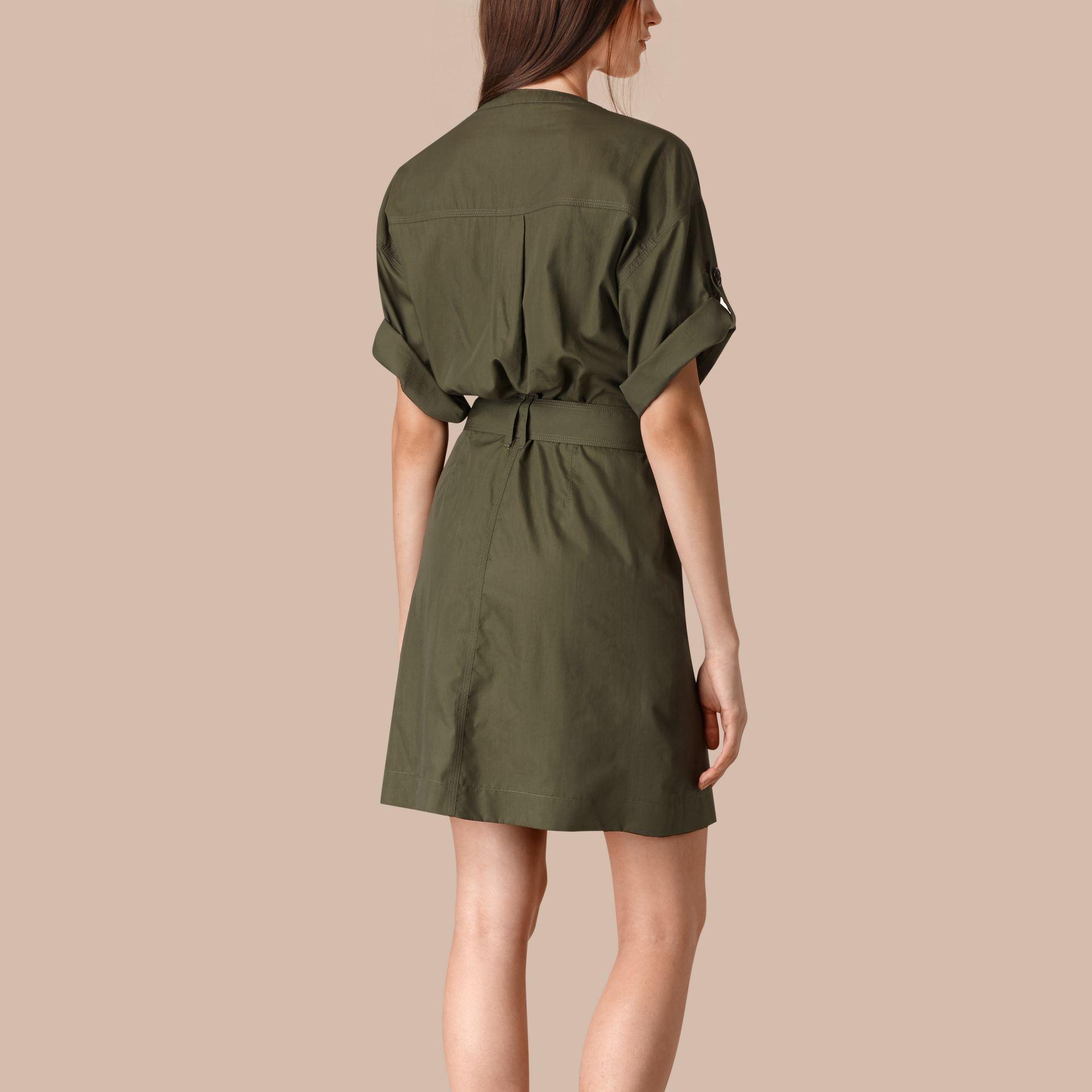 Olive Cotton and Silk Blend Military Dress Olive - gallery image 2