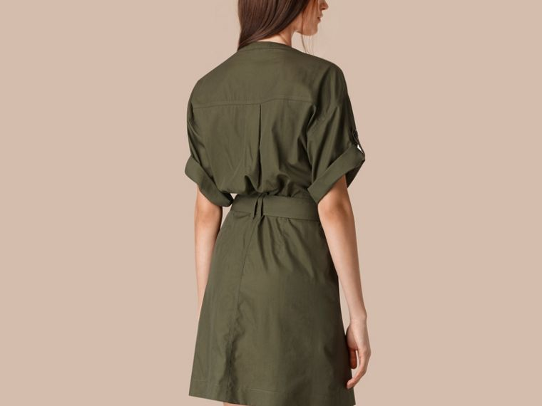 Olive Cotton and Silk Blend Military Dress Olive - cell image 1