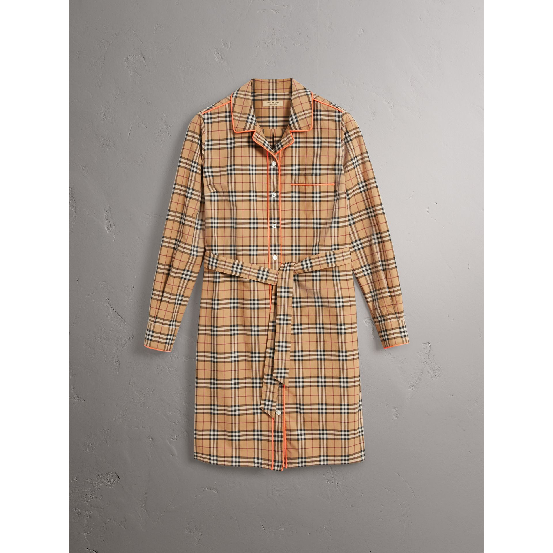 Contrast Piping Check Cotton Shirt Dress in Camel - Women | Burberry - gallery image 3