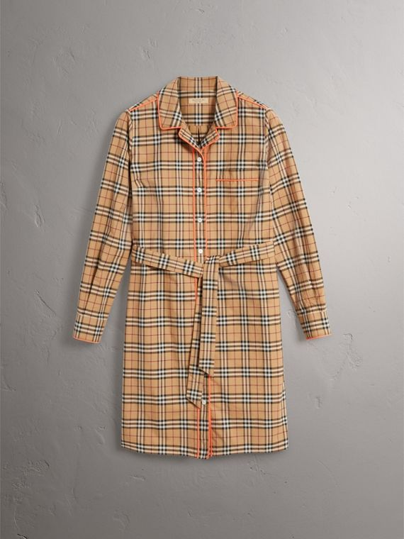 Contrast Piping Check Cotton Shirt Dress in Camel - Women | Burberry - cell image 3