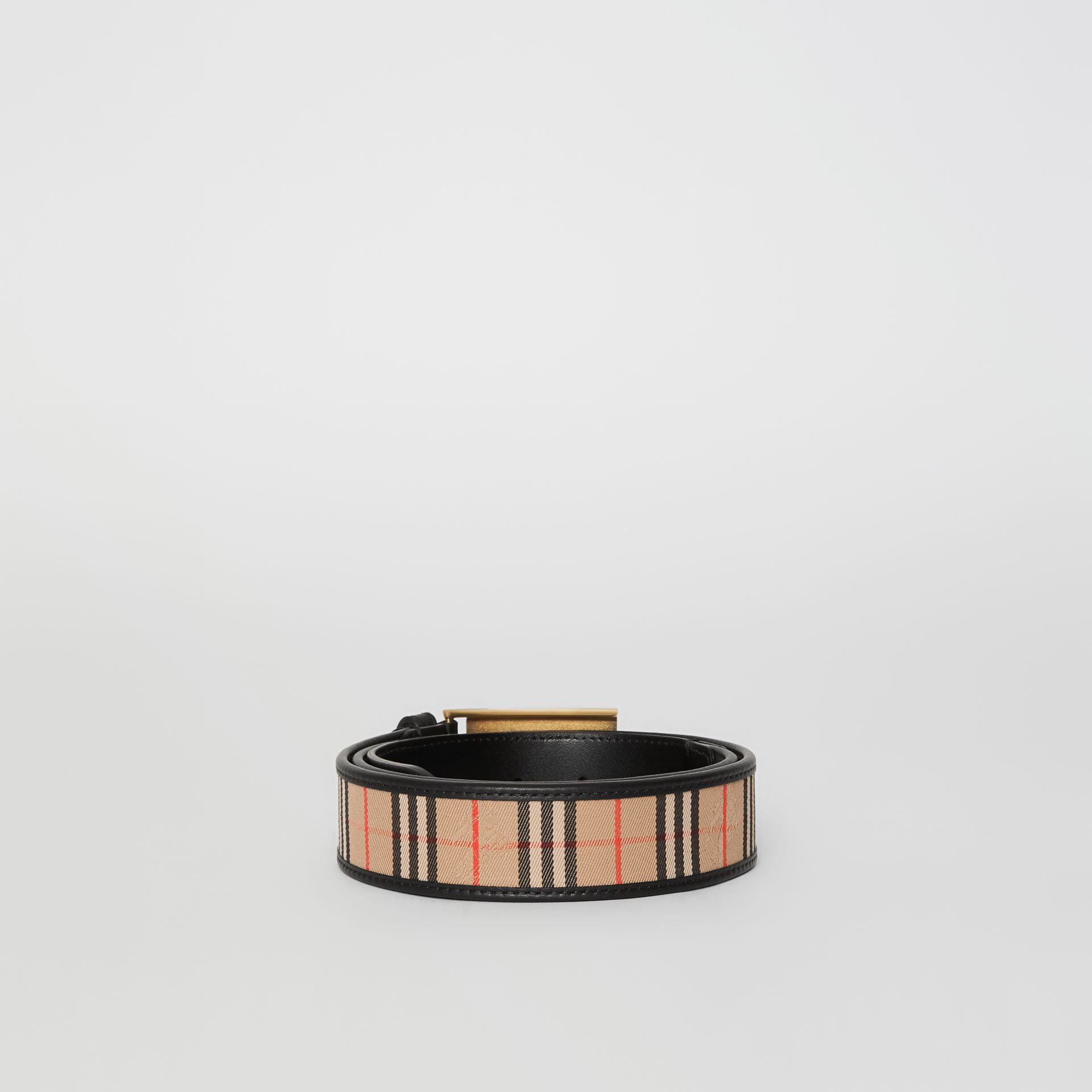 Plaque Buckle 1983 Check and Leather Belt in Black - Men | Burberry United States - gallery image 4