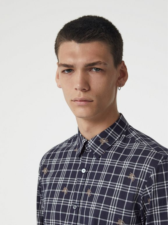 Equestrian Knight Check Cotton Shirt in Navy - Men | Burberry Australia - cell image 1