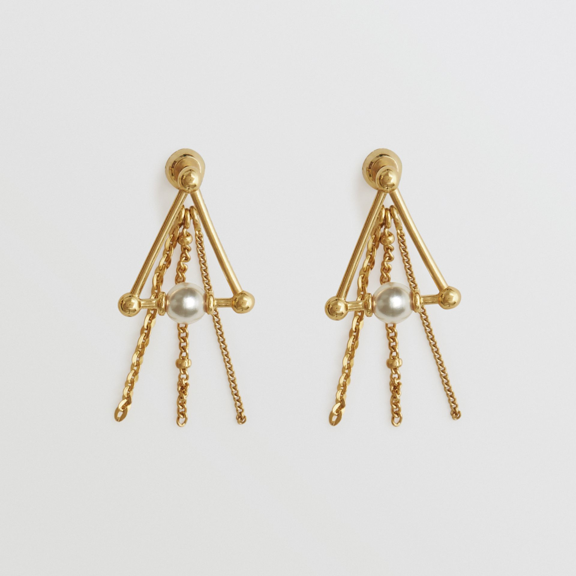 Faux Pearl and Triangle Gold-plated Drop Earrings in Light - Women | Burberry United Kingdom - gallery image 0