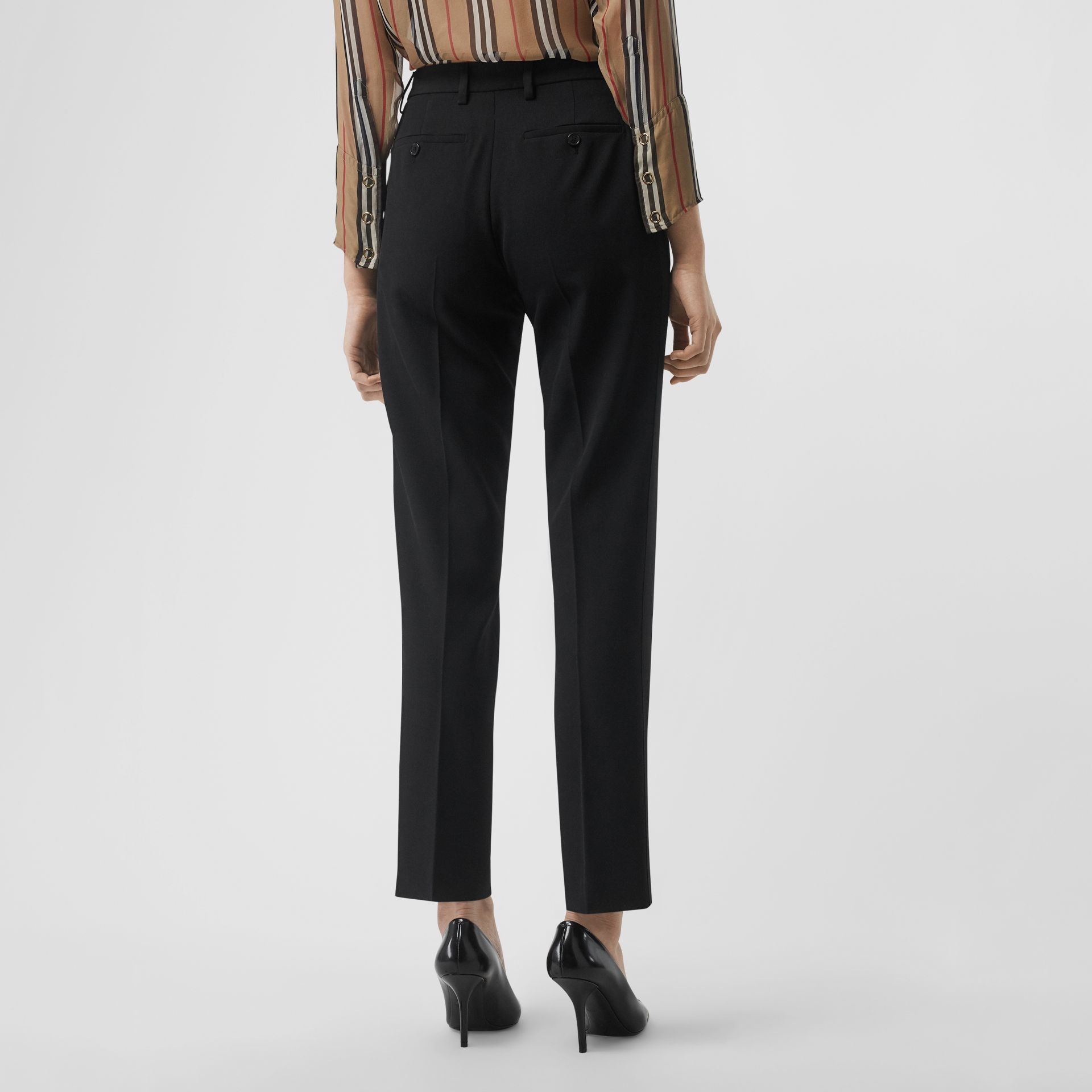 Satin Stripe Wool Silk Tailored Trousers in Black - Women | Burberry Hong Kong - gallery image 2