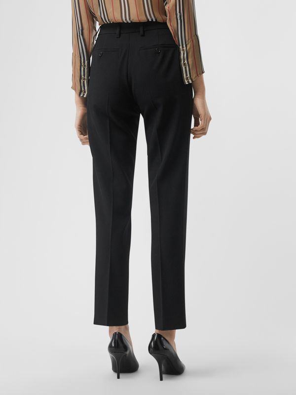 Satin Stripe Wool Silk Tailored Trousers in Black - Women | Burberry - cell image 2