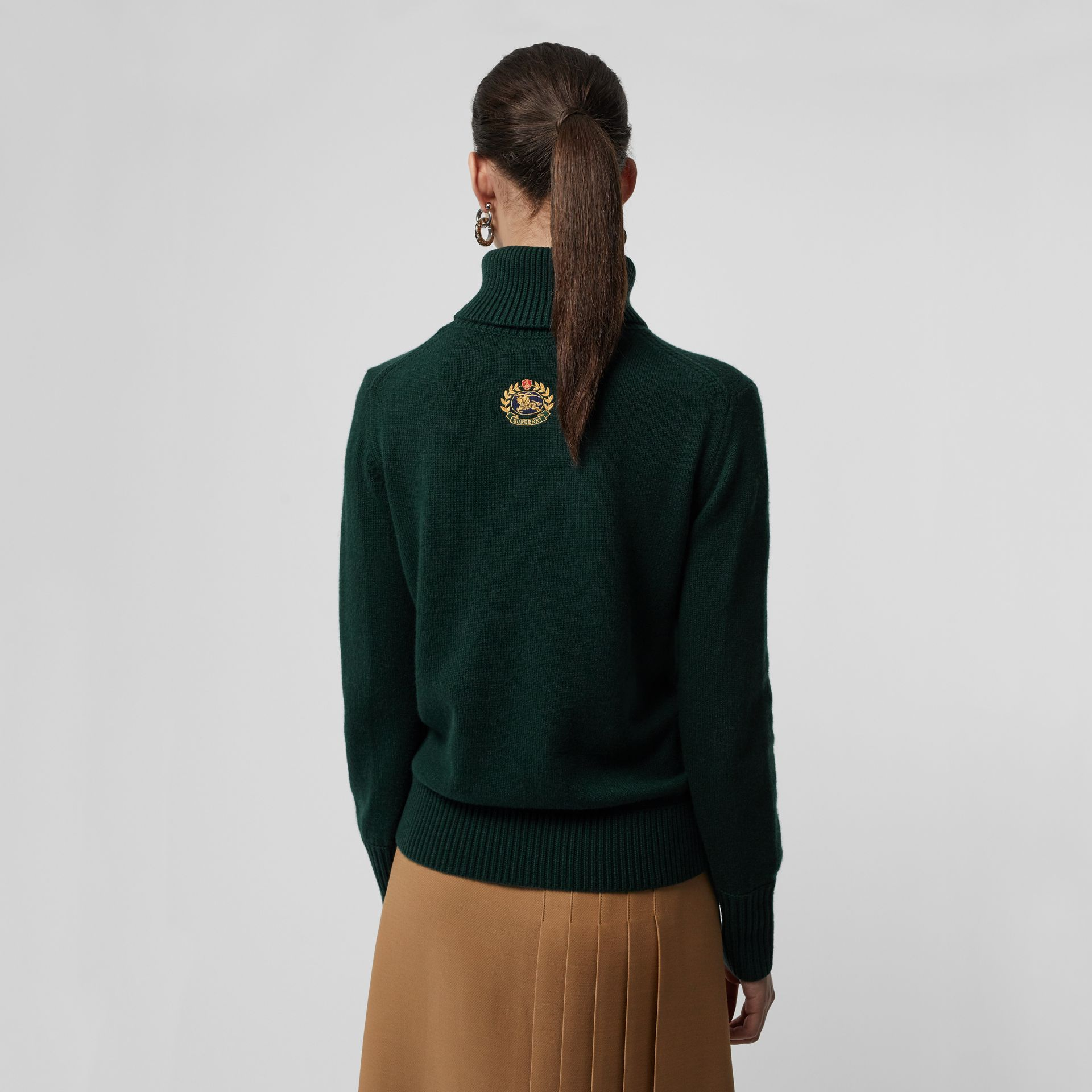 Embroidered Crest Cashmere Roll-neck Sweater in Dark Cedar Green - Women | Burberry - gallery image 2